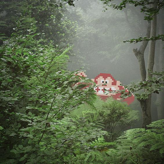 Пикселни ликови вметнати во реални фотографии