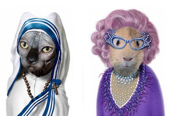 Миленичиња облечени како познатите фаци
