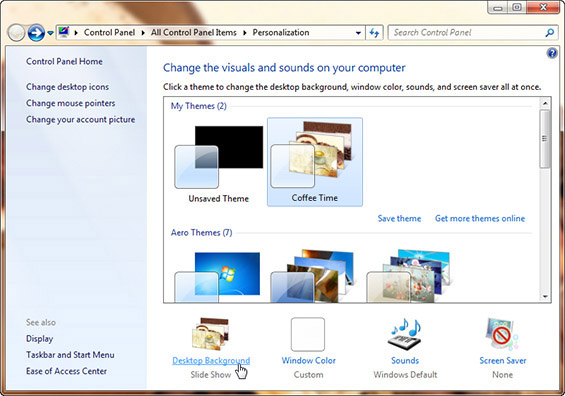 Кафе-тема за корисниците на Виндоус 7