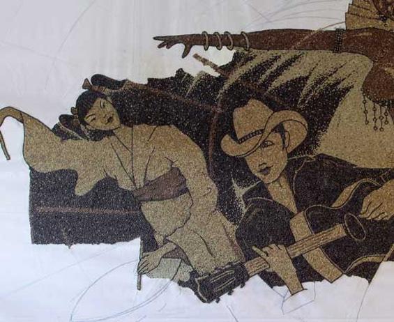 Мозаик направен од 1 милион зрна кафе