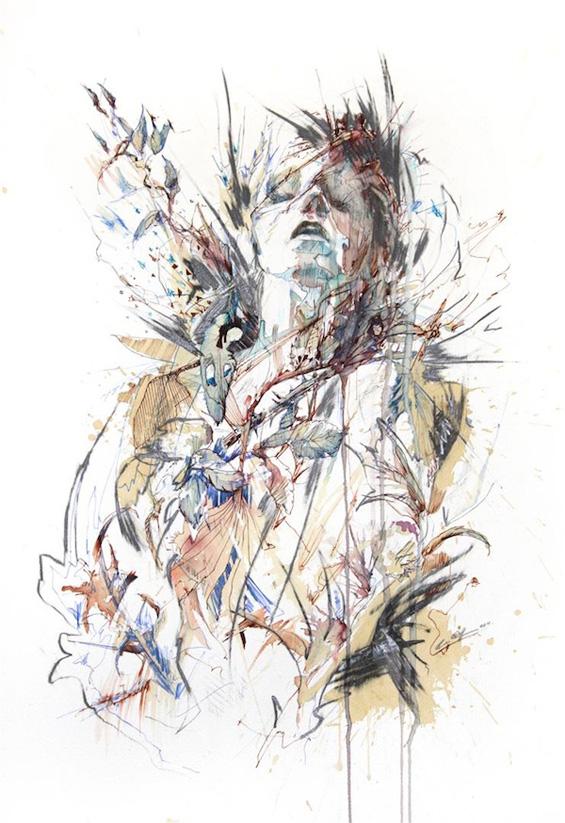 Портрети нацртани со туш и разнобојни чаеви