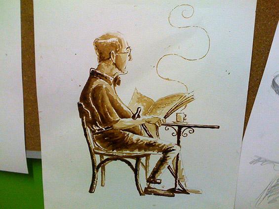 Кафе-арт на лист хартија