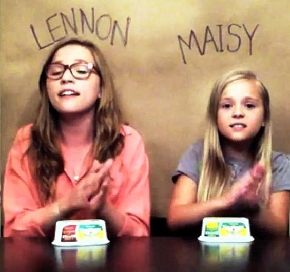 """Две сестри ја пеат """"Call Your Girlfriend"""" и """"свират"""" со кутии од маргарин"""