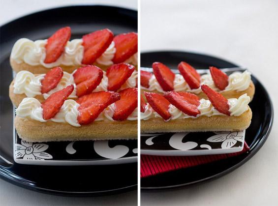 Десерт со пишкоти, шлаг и јагоди