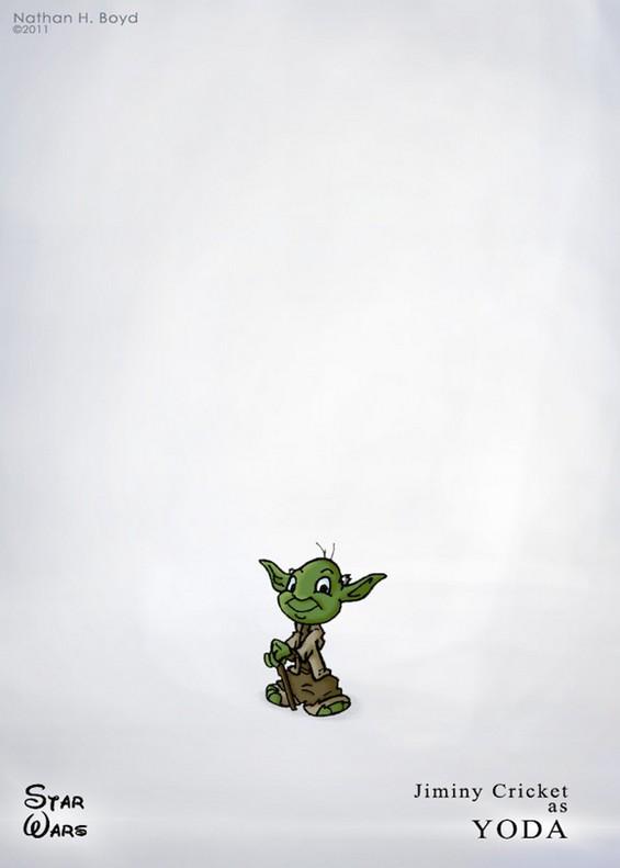 Уникатна комбинација на ликовите од Дизни и Војна на Ѕвездите во цртежи