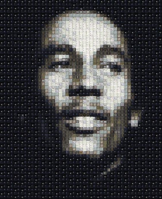 Прави портрети користејќи копчиња од тастатури