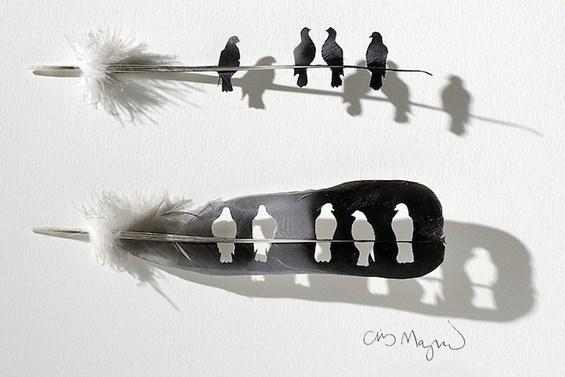 Неверојатно прецизна уметност од пердуви