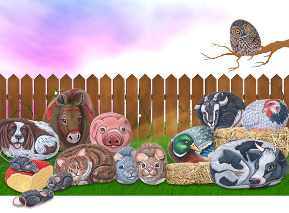 Слатки животинчиња нацртани на камења