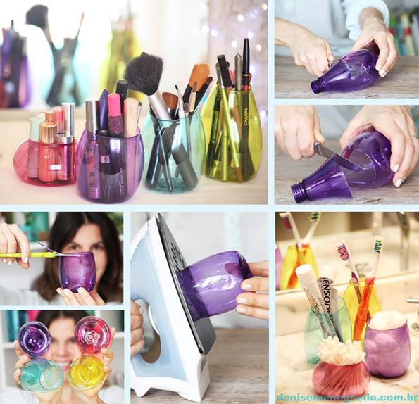 Како да си направите држачи за козметика од пластични шишиња?