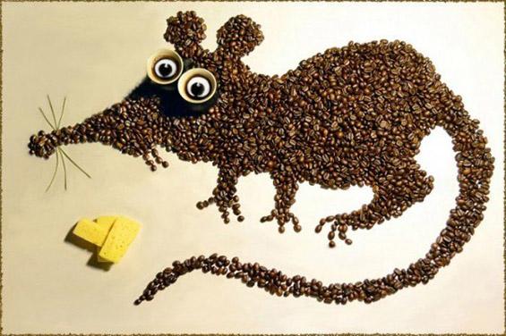 Сцени со зрна кафе инспирирани од цртаните филмови