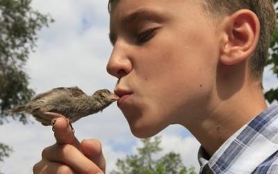 Смешни и слатки фотографии од 12-годишно момче со неговото врапче