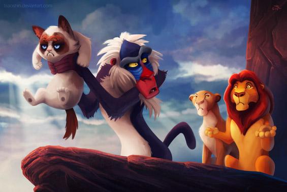Намуртениот мачор во улога на ликовите на Дизни