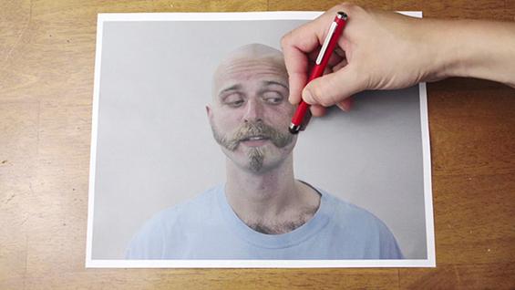 Процесот на поткастрување и бричење прикажан обратно