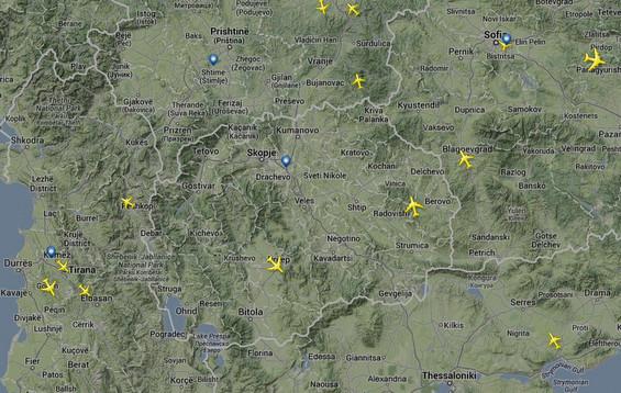 Вкупниот број на сите авиони кои летаат во овој момент