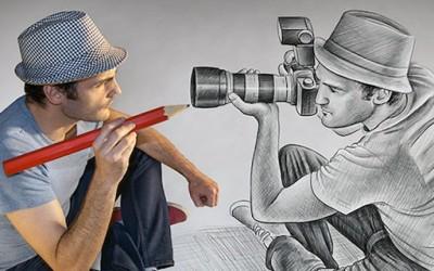 Артист кој спојува цртежи и фотографии во едно