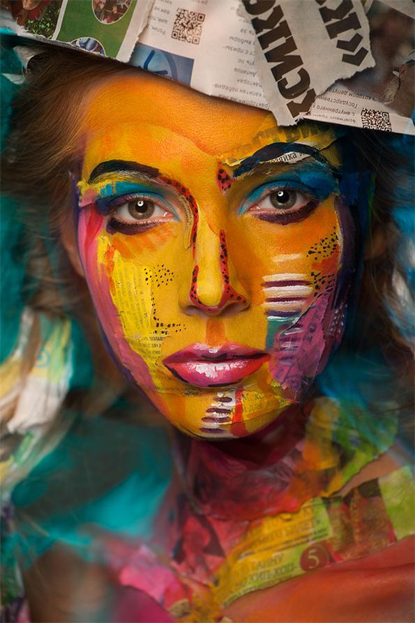 Фотопортрети од лица моќно трансформирани со боја и шминка