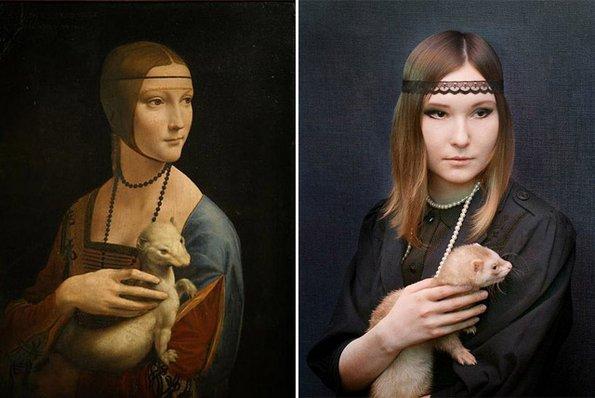"""""""Дамата со хермалин"""", Леонардо да Винчи - преработено од Сара Херцман"""