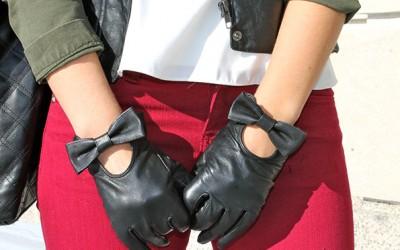 Кожни ракавици со машнички за елегантен и шик изглед