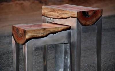 Уникатен мебел со интересна текстура од дрво и алуминиум