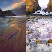 Плажата со виолетов песок Фајфер во Калифорнија (1)