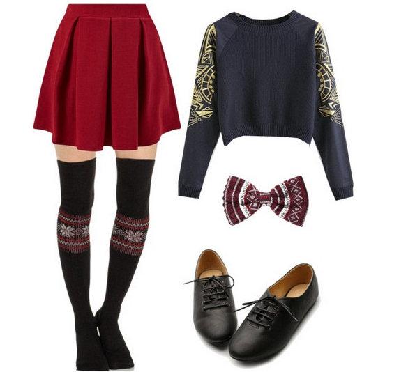 Топли есенски комбинации со плетен џемпер