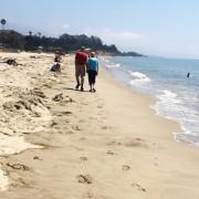 Овој пар кој во текот на долгата прошетка по плажата ги поздравува сите минувачи