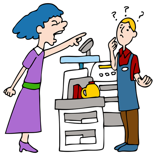 An image of a customer yelling at a cashier.