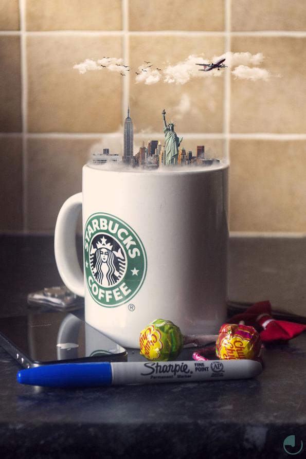 Креативни фотоманипулации од минијатурни градови сместени во чаши