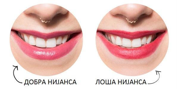 Бои на кармини кои прават вашите заби да изгледаат побело