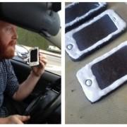 Човек кој направил колачиња во форма на ајфон и кога полицијата го запрела и му рекла дека не смее да користи телефон додека вози, тој каснал од нив и прашал дали смее да јаде колачиња