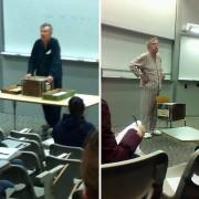 Професори во пижами протестираат за закажаните завршни тестови во 7 часот наутро