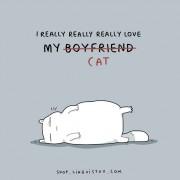 Јас навистина многу го сакам мојот (дечко) мачор.