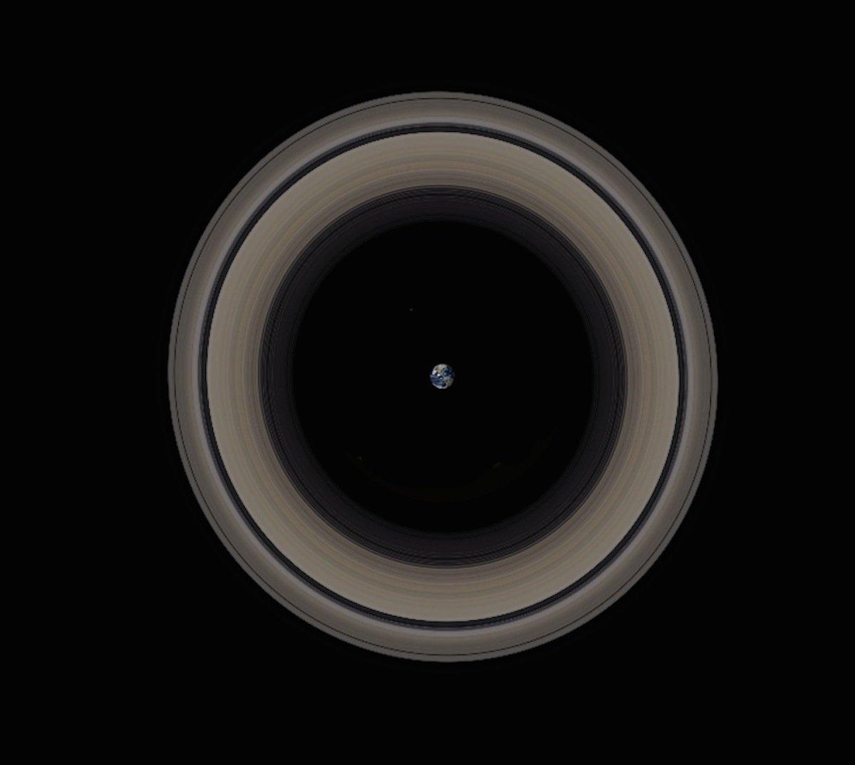 Прстените на Сатурн околу Земјата.