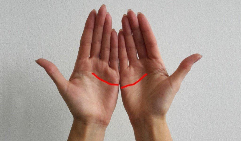 Линијата на десната дланка е повисока од онаа на левата дланка