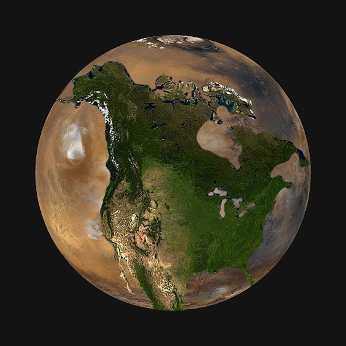 Марс може да стане вториот дом на човештвото, но црвената планета е само малку поголема од половина од Земјата. Северна Америка едвај може да ја собере на една од хемисферите на Марс.
