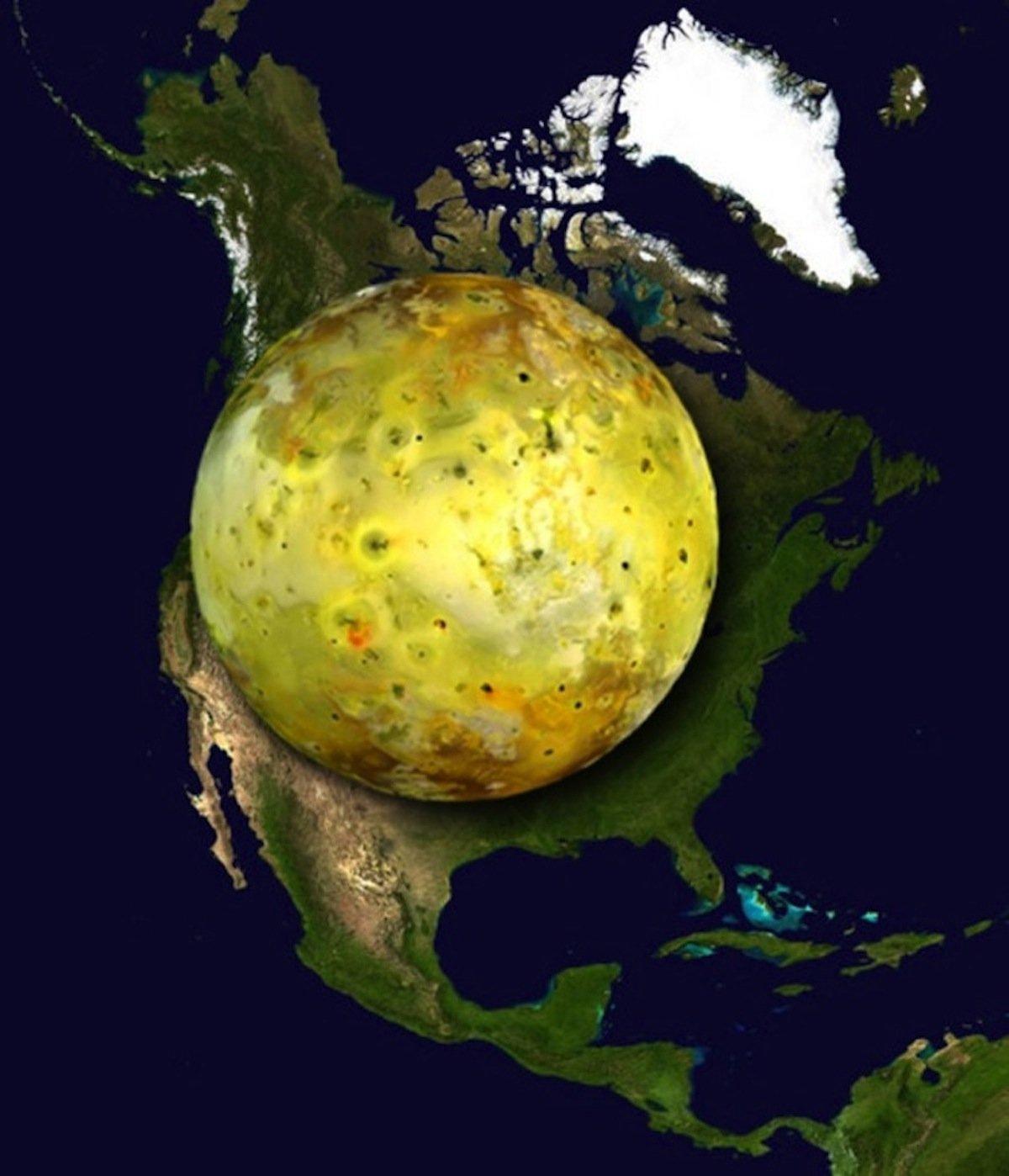 Месечината на Јупитер, Ио, е геолошки најактивниот објект во Сончевиот систем со преку 400 активни вулкани. Северна Америка има само 100.