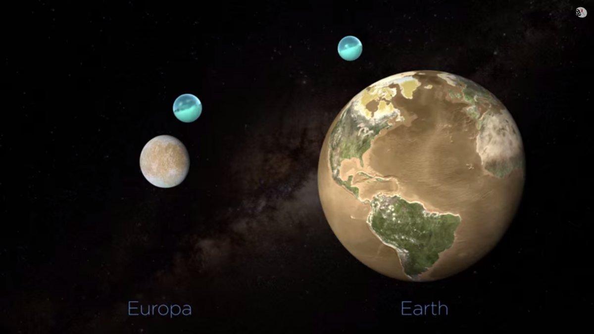 Месечината на Јупитер, Европа, е 4 пати помала од Земјата, а има повеќе вода од сите океани на Земјата заедно.