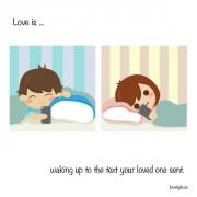 Љубов е... Да се разбудите и да прочитате порака од љубените.