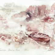 Вински пејсаж, чамец во река