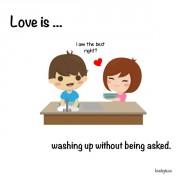 Љубов е... Кога ги миеш садовите без да го побараат тоа од тебе.