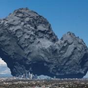Големината на една комета споредена со Лос Анџелес