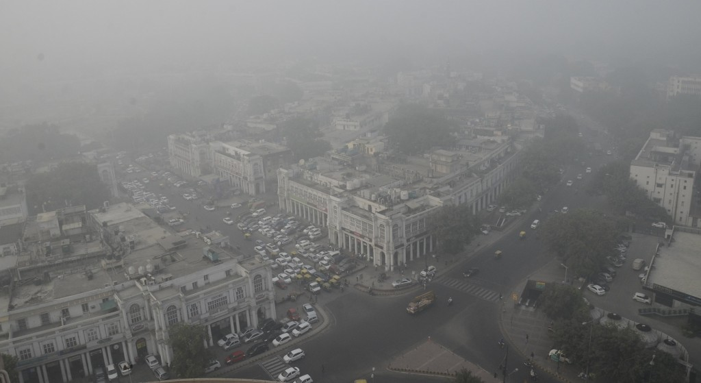 New Delhi: An arial view of the Central Delhi after thick layer of smog covered the national capital region on Nov 8, 2017. (Photo: IANS)